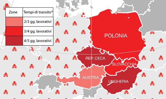 Artoni Europe Spedisci in Austria, Polonai, Rep. Ceca, Slovacchia, Ungheria